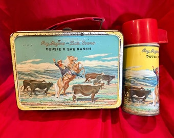 1950s Roy Rogers and Dale Evans metal lunch box and thermos set