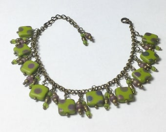 Antique Style Charm Bracelet with Vibrant Green Czech Glass Beads with Purple / Gold Iridescent Spots