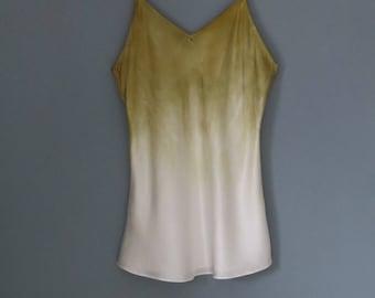 Silk pajamas, camisole, silk tank top, size S, hand dyed silk shirt, silk nightshirt, silk blouse, silk lingerie