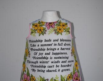 Baby Toddler Cotton Dress Frock in Retro Kitsch Vintage Cotton Floral Friendship Poem
