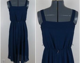 1970s Navy Blue Sheer Dress with Pleats - Vintage Sleeveless Sundress - Bust 32 (B8)