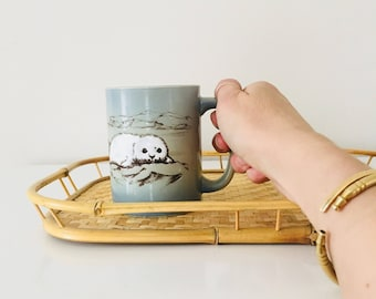 Vintage White Seal Mug Blue Gray Brown Coffee Mug Earthy Colored Cup Polar Landscape Mug