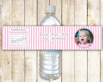 Printable Personalized Pink Stripes Photo Water Bottle Labels Wrappers - Birthday Party Baby Shower Girl Custom Wraps