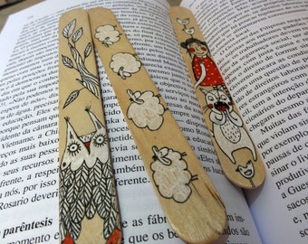 Wood Bookmarks with Unique Illustration [Girl and Cat, Sheep, Owl] - Set of 3