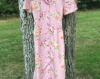 vintage floral button down short sleeve dress