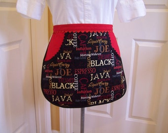 Espresso Women's Half Apron, Black and Red Utility apron, craft apron, One big Pocket apron, Ready to ship