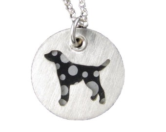 Dalmatian Pendant Sterling Silver Necklace and Pendant, Pet Themed Gift for Her, Dog Lover Gift, Black Spots, Liver Spots