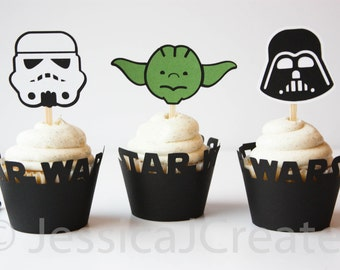 Star Wars Cupcake Toppers - Darth Vader Cupcake Toppers - Yoda Cupcake Topper - Storm Trooper Cupcake Topper - Star Wars Party