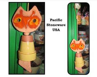 Vintage Pacific Stoneware California Pottery, People Lover, Owl Wind chime, 1968, USA