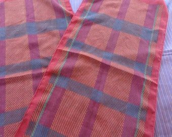 Long Scarf - Woven long Plaid Scarf.  Mixed cloth like some lightweight wool in it  Teal  Yellow  Purple  Red .  Natural fringed ends