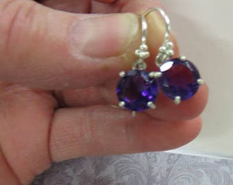 Amethyst Earrings - Natural Faceted Amethyst Dangles - Amethyst and Sterling Silver Dangle Earrings