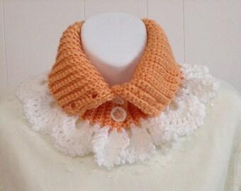 Lacy Crochet Neck Warmer in Satin Soft Mandarin Orange with White Crocheted Lace - Scarf Alternative