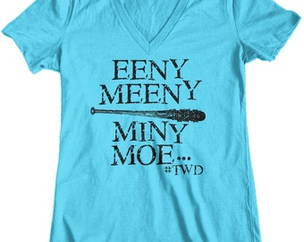 Women's Negan Eeny Meeny Miny Moe The Walking Dead Junior Fit V-Neck T-Shirt