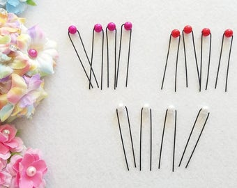10  Beautiful Pearl Hair Pin. Pink, Red or White