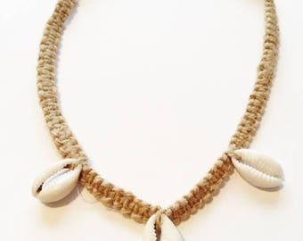 Afrocentric Cowrie Cowry shells braided cord necklace