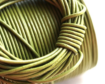 1.5mm Round Leather cord - Pistachio Green - 10 feet, LC041