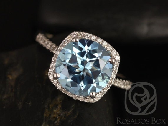 Rosados Box Barra 10mm 14kt White Gold Blue Topaz and Diamond Cushion Halo Engagement Ring