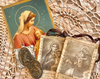4 Piece Vintage HOLY Medals SCAPULA Card Virgin Mary Saints Religious Catholic Jewelry SUPPLIES Curiosity Cabinet Reliquary Collectable D