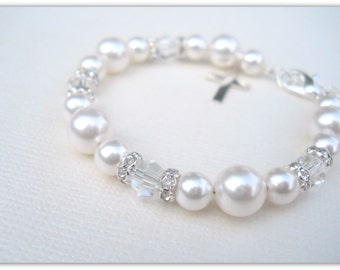 MORE COLORS Flower Girl Baptism Confirmation Cross Bracelet with Swarovski Pearls and Crystals B237