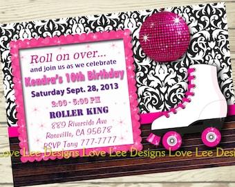 Free Roller Skating Birthday Party Invitations ~ Printable girls roller skating invitation ticket rainbow