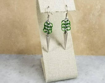 Silver & Green Chainmaille Euro Earrings With Spikes