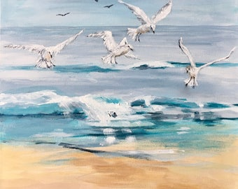 Original Acrylic Seascape Painting on Stretched Canvas - 'Gulls on the Shoreline' - Impressionistic Wall Art - FREE UK SHIPPING