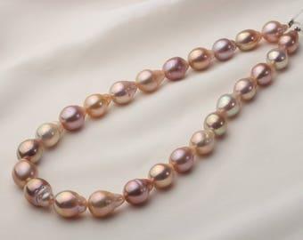 11-14mm Oval/Teardrop Metallic Edison Pearl Necklace, Kasumi Pearl, Loose Pearl Strand QF005