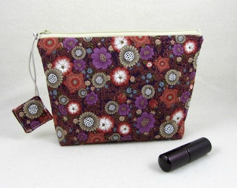 Cosmetic organizer, make up bag, floral toiletry bag, cosmetic bag, travel organizer, zipper pouch, fabric make up pouch