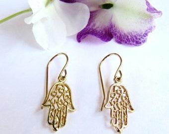 hamsa earrings, hamsa piercing, Gold earrings, gold piercing, gold hamsa earrings, dainty jewelry, fine jewelry, Kabbalah, Moroccan Jewelry