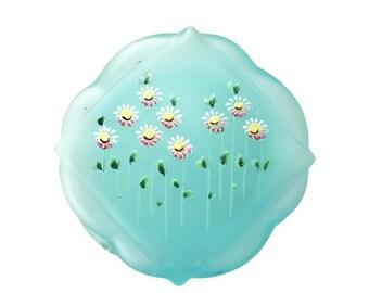 Enameled Satin Glass Vanity Trinket Box Hinged Powder Box Jar Jewelry Box