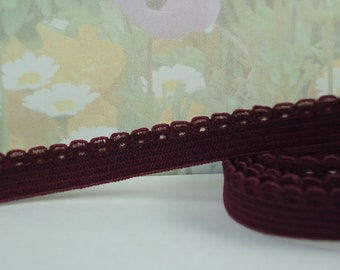 """5yd Elastic Picot 3/8"""" Plum Purple with small scalloped Edging diy Headbands Sewing lingerie Single sided Edging bra strap"""