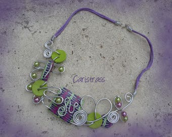 Purple and lime green Zebra necklace
