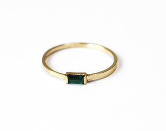 Emerald Baguette Ring (14K yellow or white gold)