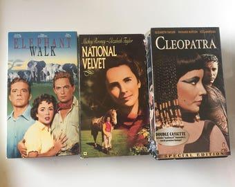 Lot of 3 ELIZABETH TAYLOR National Velvet, Cleopatra, Elephant Walk (VHS)