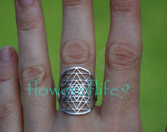 Sri Yantra ring - Stainless Steel