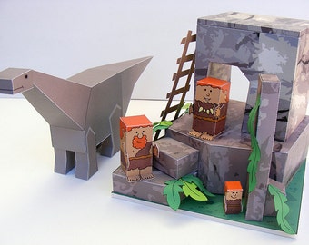 Dino MiniWorld paper toys - The Cave. Cut, assemble and play. Instant download.