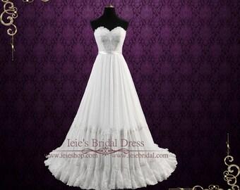 Strapless Boho Chiffon Wedding Dress with Lace Bodice | Alyssa
