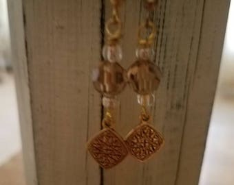 Rustic Gold Metal Dangle Drop Earrings with Rustic Gold Charm and Czech Glass Faceted Beads