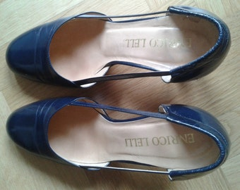 Vintage Ladies shoes 70s-80s High Heeled shoes, Blue Pumps, Coquettes, Decolletès, Size US 6 circa - UK 3 circa - It 36