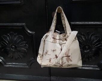 Extra Large Knitting Bag - Dragonflies - Henna - Adjustable Strap - 6 Pockets - Zipper Pouch Set