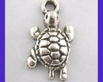 5 turtles charms engraved zinc alloy