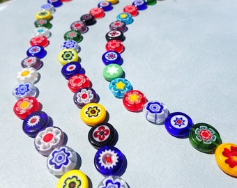 Millefiori Glass Beads - Flat Round Assorted Colors - 12mm Use in Mosaics - Supplies to Create Jewelry - Approx 30 beads
