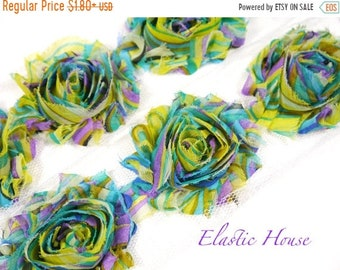"Clearance 50% OFF Sale 2.5"" PRINT Shabby Rose Trim - Yellow Rainbow - Chiffon Trim - Printed Shabby Rose Trim - Hair Acessories Supplies"