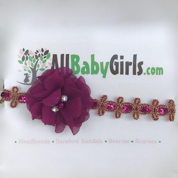 Infant Headbands, Purple Headband, Baby Headband, Flower Headband, Gold Baby Headband, Gold Headband, Newborn Headband, Baby Headbands