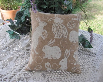 Plump Easter Bunny Rabbit Burlap Pillow, Happy Easter Decor ,Smaller  One