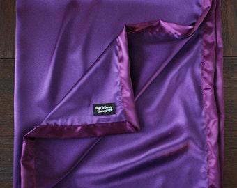Satin blanket, Silk blanket, Purple Blanket, Purple Satin, Baby Girl, Soft Blanket, silk woobie, soft blanket, mermaid blanket, Charmeuse