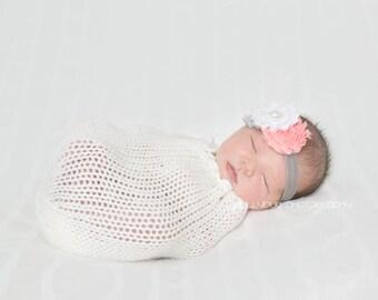 baby headband, baby girl headband, grey headband,stacked headband chiffon headband, flower headband, vintage headband, wedding headband