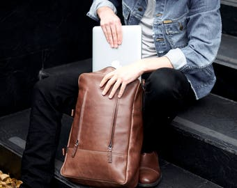 Brown Leather Backpack, 15-inch Laptop Rucksack, Back To School. Travel Designer Bag. Personalized Gifts For Men. Mens Bags by Capra Leather