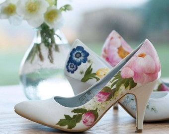 Pink peony and green buds flower handpainted custom floral wedding shoes