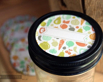 Fruit & Vegetable Print Lid Inserts for Regular Mouth Mason Jars 4 Pack  | Crafts | Gifts | Ball / Canning Jar DIY | Labels | Gift Tags